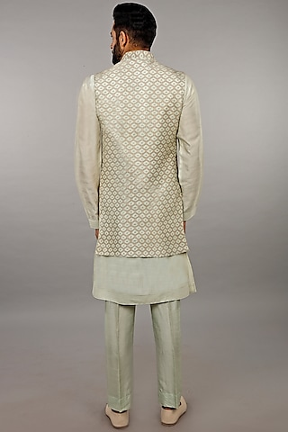 Mint Green Kurta Set With Jacket by Vanshik