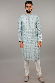 Aqua Blue Printed Kurta Set by Vanshik