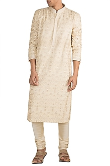Cream Aari Embroidered Kurta With Churidar Pants by Vanshik