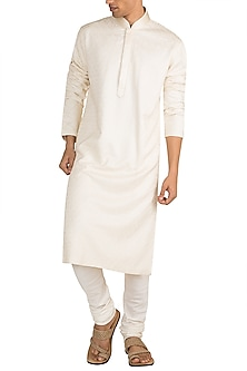 Ivory Embroidered Kurta Set by Vanshik