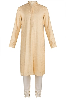 Cream Embroidered Silk Kurta Set by Vanshik