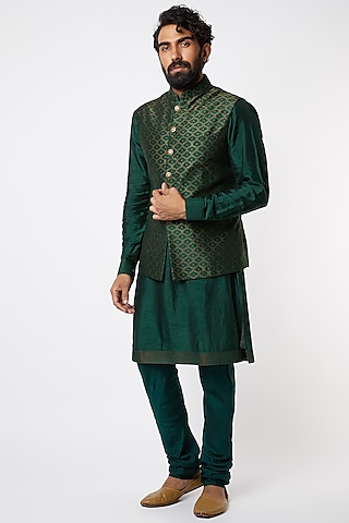 Emerald Green Brocade Silk Kurta Set by Vanshik