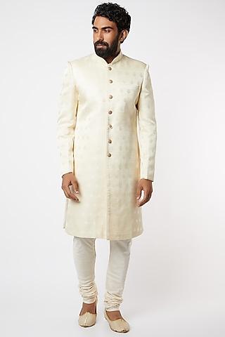 White Silk Sherwani Set by Vanshik