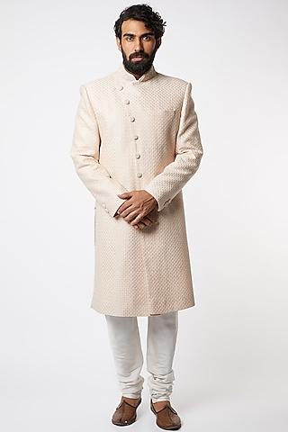 Blush Pink Embroidered Sherwani Set by Vanshik