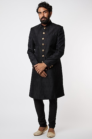 Black Emboss Silk Sherwani Set by Vanshik