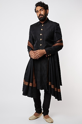 Black Sherwani Set With Self Design by Vanshik
