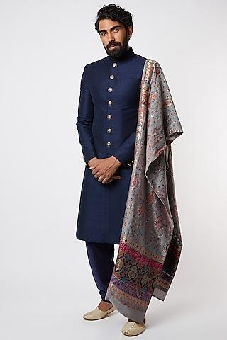 Cobalt Blue Sherwani Set With Dupatta by Vanshik