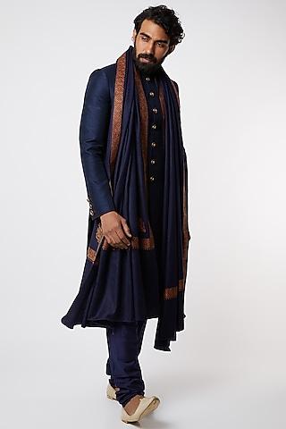 Cobalt Blue Sherwani Set by Vanshik