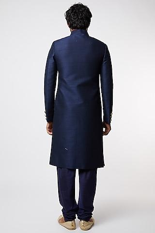 Cobalt Blue Silk Sherwani Set by Vanshik