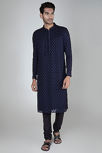 Cobalt Blue Embellished Kurta Set by Vanshik