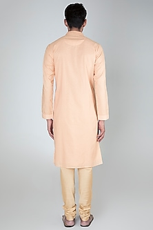 Peach Cotton Silk Kurta Set by Vanshik
