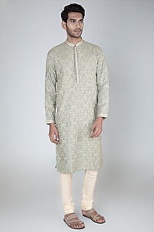 Grey Embroidered Kurta Set by Vanshik