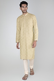 Mint Green Thread Embroidered Kurta Set by Vanshik