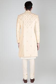 White Embroidered Sherwani Set by Vanshik