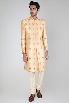 Beige Embellished Sherwani Set by Vanshik