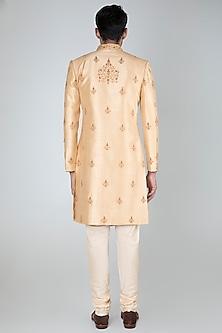 Beige Embellished Sherwani Set by Vanshik