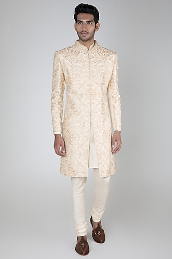 White Embroidered Raw Silk Sherwani Set by Vanshik