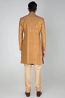 Gold Embroidered Sherwani Set by Vanshik