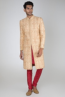 Copper Embroidered Sherwani Set by Vanshik