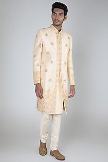 White Raw Silk Embroidered Sherwani Set by Vanshik