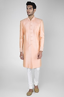Peach Matka SIlk Sherwani Set by Vanshik