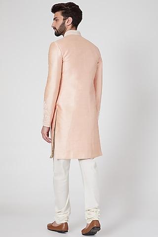 Blush Pink Matka Silk Sherwani Set by Vanshik