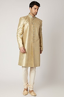Mint Green & Gold Silk Sherwani Set by Vanshik