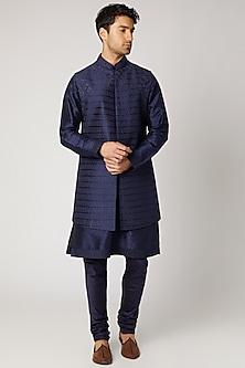 Cobalt Blue Embroidered Kurta Set With Bundi Jacket by Vanshik