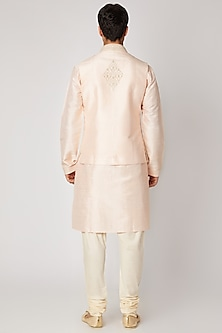 Peach Kurta Set With Bundi Jacket by Vanshik