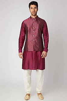 Wine Silk Kurta Set With Bundi Jacket by Vanshik