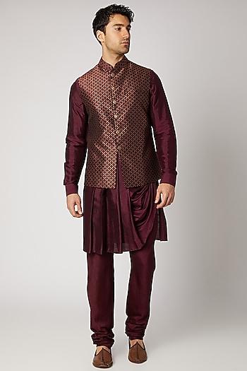 Maroon Silk Kurta Set With Bundi Jacket by Vanshik