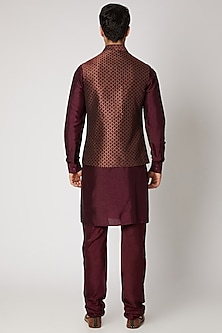 Maroon Silk Kurta Set With Bundi Jacket by Vanshik
