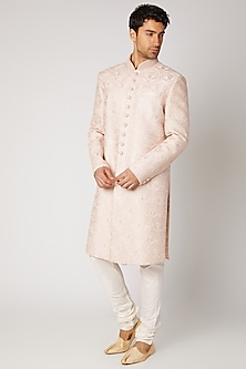 Peach Embroidered Sherwani Set by Vanshik