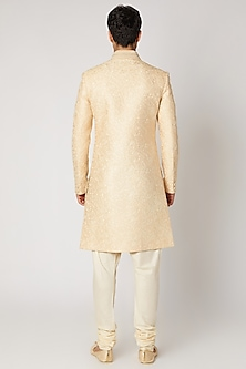Cream Embroidered Sherwani Set by Vanshik