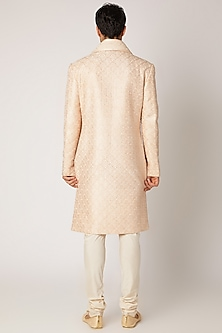 Beige Embroidered Sherwani Set by Vanshik