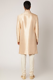 Peach Silk Sherwani With Churidar Pants by Vanshik
