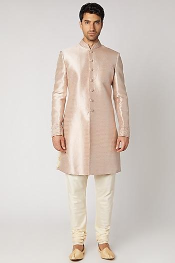 Mauve Silk Sherwani Set by Vanshik