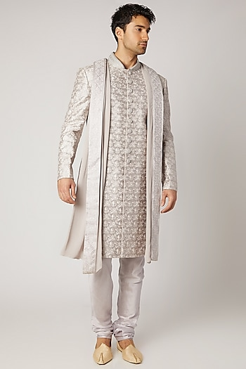 Silver Embroidered Sherwani Set With Dupatta by Vanshik