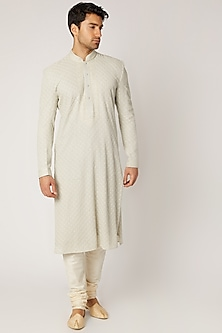 Pastel Blue Embroidered Kurta Set by Vanshik