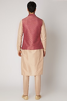 Peach Kurta With Churidar Pants & Bundi Jacket by Vanshik