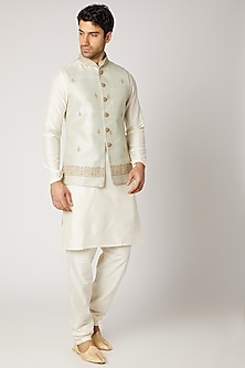 Mint Green Kurta Set With Bundi Jacket by Vanshik
