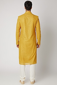Yellow Embroidered Kurta Set by Vanshik