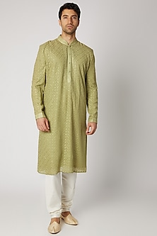 Olive Green Embroidered Kurta Set by Vanshik