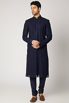 Cobalt Blue Embroidered Kurta Set by Vanshik