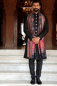 Black Sherwani Set With Meenakari Buttons by Vanshik