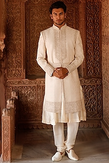Pearl White Embroidered Sherwani Set by Vanshik