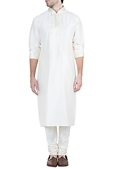 Ivory Embroidered Kurta With Churidaar Pants by Vanshik