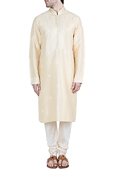 Beige Embroidered Silk Kurta With Pants by Vanshik
