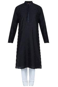 Black Embroidered Kurta With Churidaar Pants by Vanshik