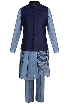 Blue Embroidered Bundi Jacket With Kurta & Pants by Vanshik